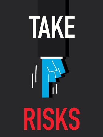 stock market quote: Word TAKE RISKS Illustration