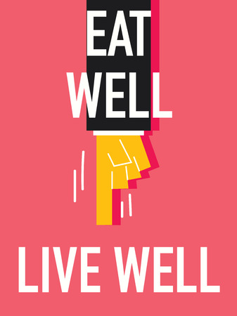 Word EAT WELL LIVE WELL Vector