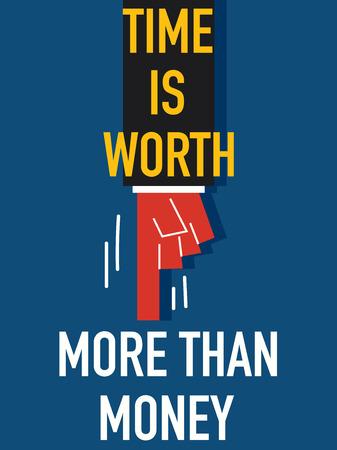 worth: Word TIME IS WORTH Illustration