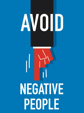abstention: Words AVOID NEGATIVE PEOPLE Illustration