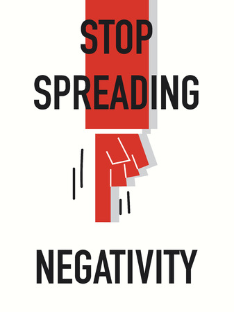 negativity: Words STOP SPREADING NEGATIVITY Illustration