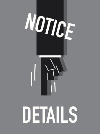 notice: Words NOTICE DETAILS Illustration