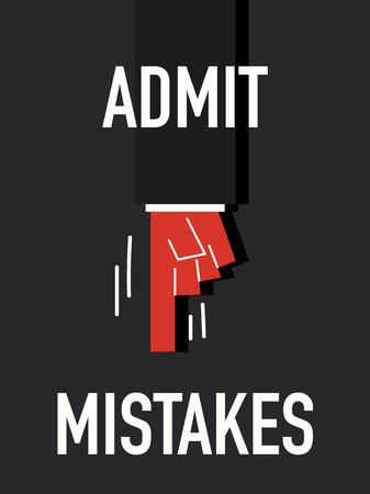 admit: Words ADMIT MISTAKES Illustration