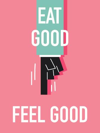 feel good: Words EAT GOOD FEEL GOOD Illustration