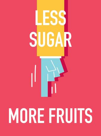 less: Words LESS SUGAR MORE FRUITS