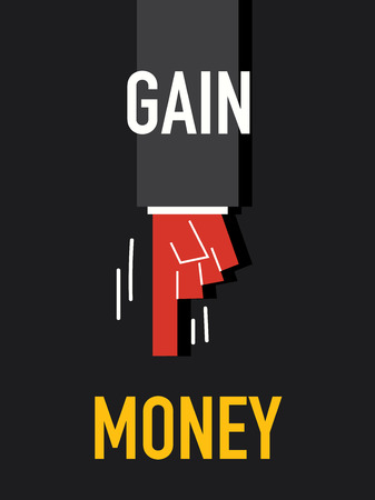 gain: Words GAIN MONEY Illustration