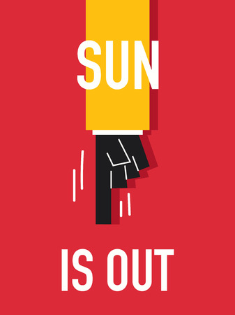 warmest: Words SUN IS OUT Illustration