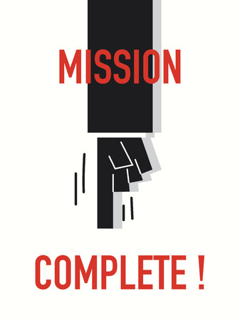 complete: Words MISSION COMPLETE Illustration