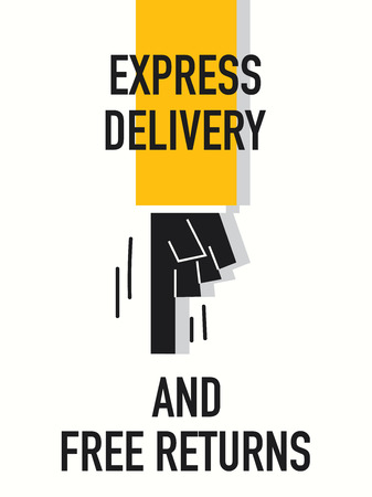 express delivery: Words EXPRESS DELIVERY AND FREE RETURNS
