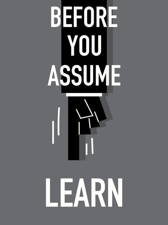 Words BEFORE YOU ASSUME LEARN Illustration