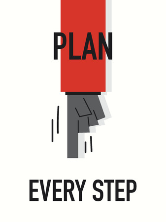 every: Words PLAN EVERY STEP Illustration