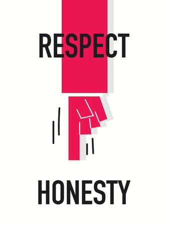 courteous: Words RESPECT HONESTY