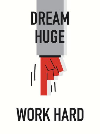 Words DREAM HUGE WORK HARD Vector
