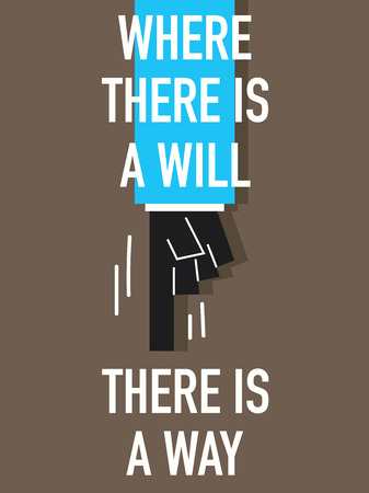 there: Words WHERE THERE IS A WILL THERE IS A WAY Illustration