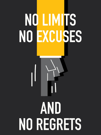 Words NO LIMITS NO EXCUSES AND NO REGRETS Ilustracja