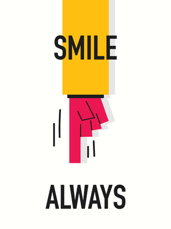 always: Words SMILE ALWAYS Illustration