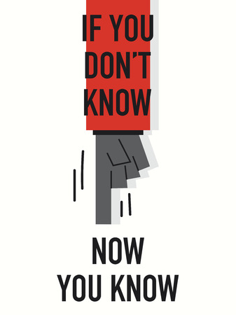 know: Words IF YOU DO NOT KNOW NOW YOU KNOW Illustration