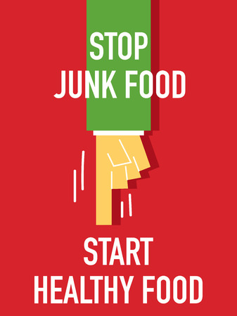 robustness: Words STOP JUNK FOOD START HEALTHY FOOD