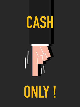 only: Words CASH ONLY Illustration