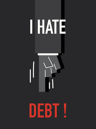 hate: Words I HATE DEBT Illustration