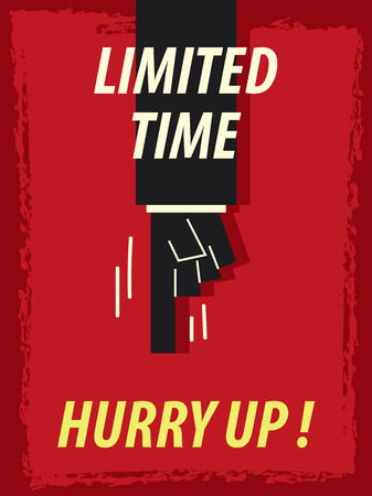 hurry: Words LIMITED TIME HURRY UP Illustration
