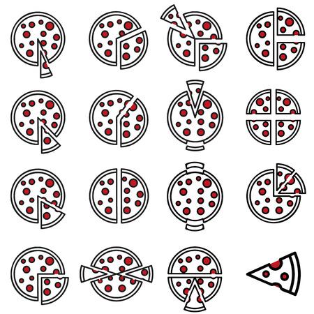 market share: Pizza Market share icons set Illustration