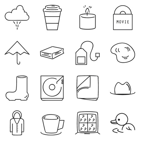 rain coat: Rainy day icons set