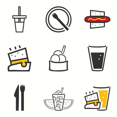 Street food icons set Vector