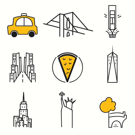 central park: New York icons set