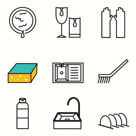 Dish washing icons set Vector