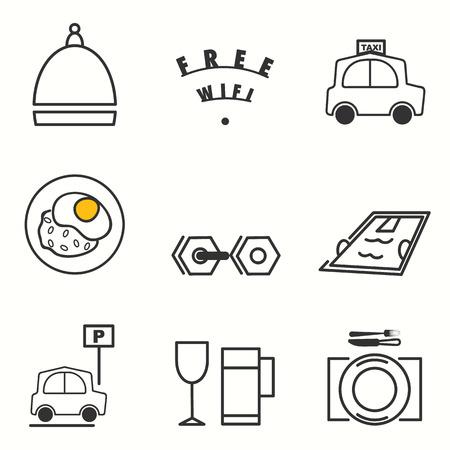 gym room: Hotel service icons set Illustration