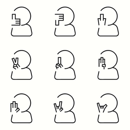 Hand Signs icons set Vector