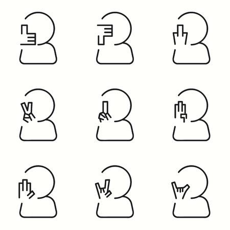 dedo me�ique: Muestras de la mano iconos conjunto