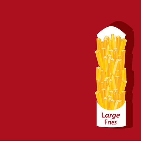 too much: Large French Fries vector illustration Illustration