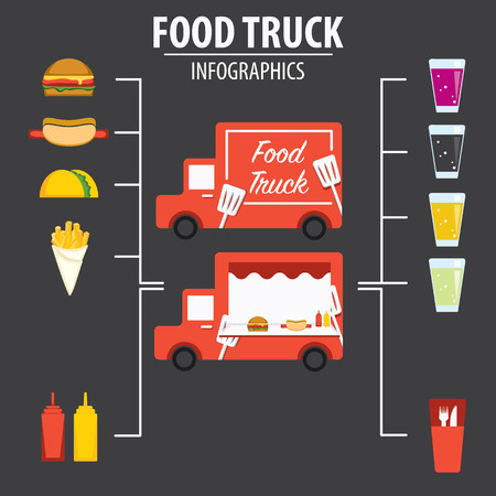 Food Truck INFOGRAFÍA Foto de archivo - 41062851