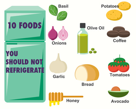 refrigerated: Foods You should not refrigerate Infographics Illustration