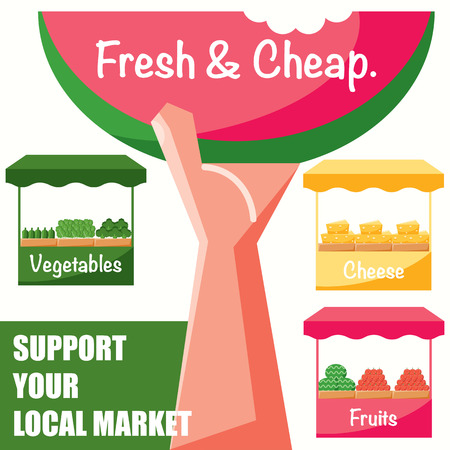 local: Support your local market Illustration