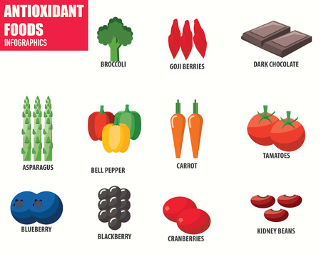 antioxidant: Antioxidant Foods infographics Illustration