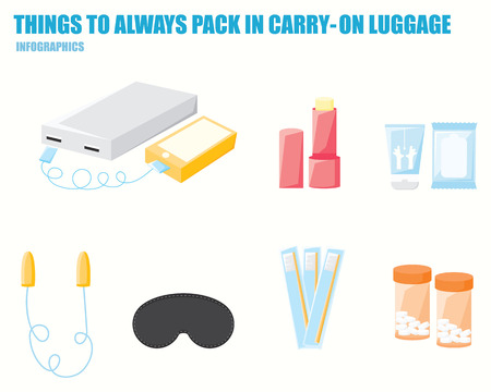 carry on: THINGS TO ALWAYS PACK IN YOUR CARRY ON LUGGAGE infographics Illustration