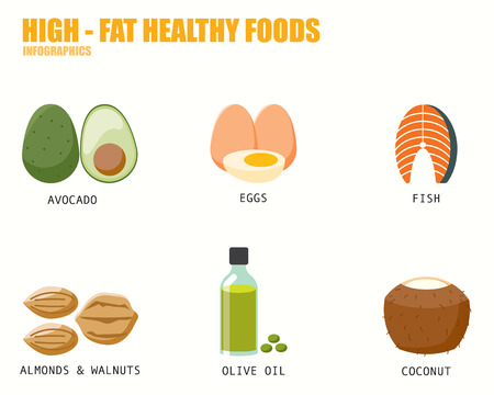 coconuts: HIGH FAT HEALTHY FOODS infographics Illustration