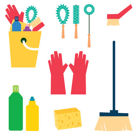yellow lab: Cleaning Supplies vector illustration