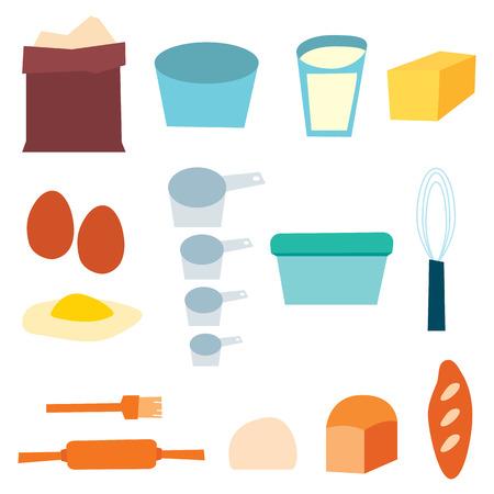 homemade bread: Bread Baking Supplies vector illustration