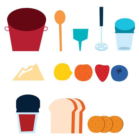 homemade bread: Jam Making supplies vector illustration