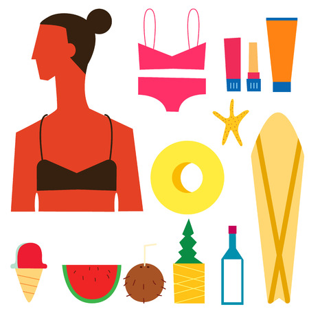 watermelon woman: Beach Summer vector illustration