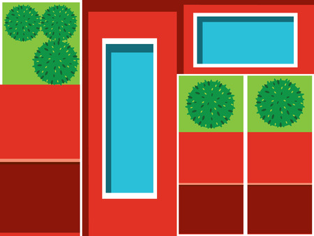 holiday villa: Rooftop house and pool vector illustration