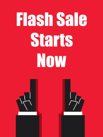 starts: FLASH SALE STARTS NOW typography poster Illustration