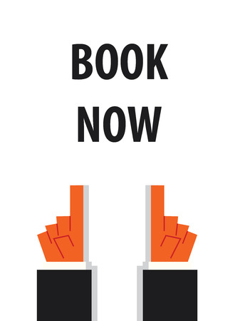 acknowledge: BOOK NOW typography vector