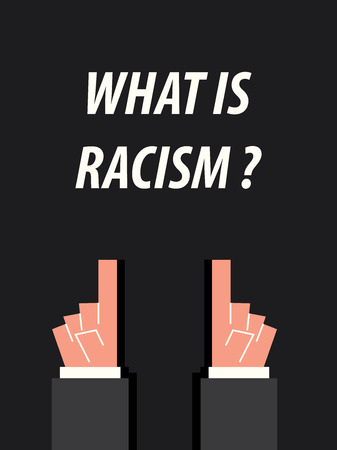 racism: WHAT IS RACISM  typography vector illustration