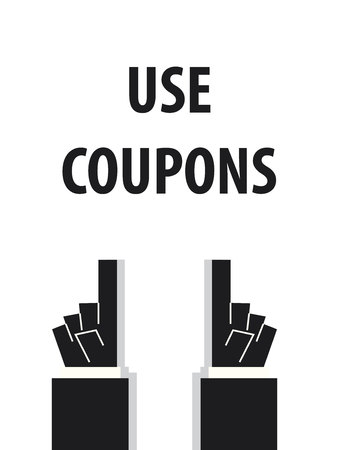 use: USE COUPONS typography vector illustration
