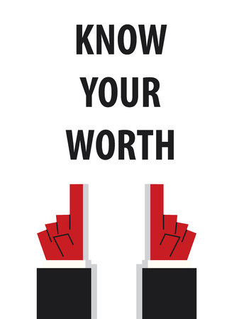KNOW YOUR WORTH typography illustration